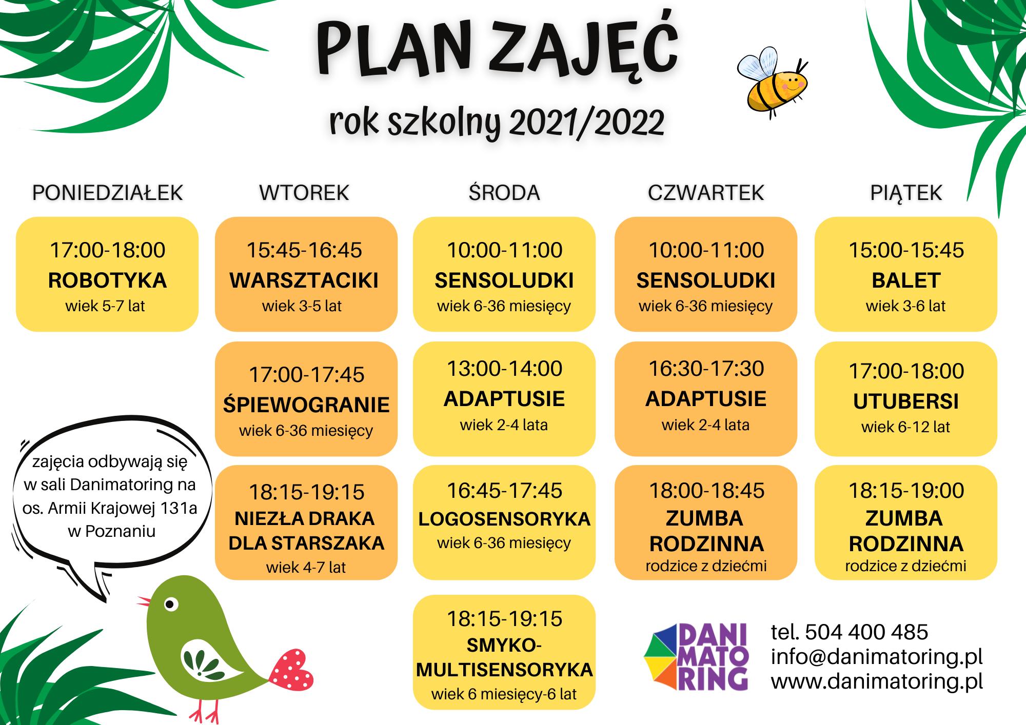 Warsztaty W Sali Danimatoring - Plan Zajęć Na Rok Szkolny 2021/2022 - Danimatoring.pl zdjęcie nr 1